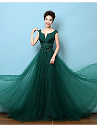 Formal Evening Dress A-line V-neck Court Train Lace / Satin with Bow(s) / Lace / Sash / Ribbon