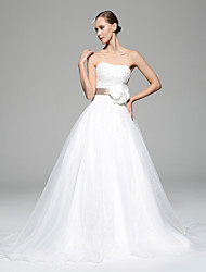 A-line Wedding Dress - Chocolate / White Chapel Train Sweetheart Organza