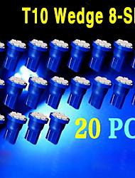 20 x t10 ultra-azul brilhante super 8-SMD lâmpadas LED 194 2825 921 168 175 501