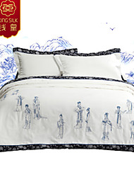 Winter Silk Blanket Comforter Silk Quilt Bedding Sets New Arrive Chinese Embroidery White Four Seasons Silk Quilts