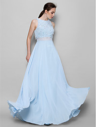 A-Line Jewel Neck Floor Length Chiffon Bridesmaid Dress with Beading Sequins by LAN TING BRIDE®