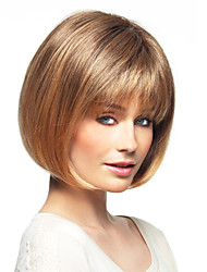 "Bob Haircut Human Hair Short Natural Straight Monofilament Top(1"") Women's Capless Wig"