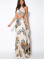 Feminino Tubinho Vestido,Praia Sensual Moda de Rua Floral Com Alças Longo Sem Manga Algodão Verão Cintura Média Micro-Elástica Média