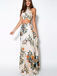 Mujer Corte Bodycon Vestido Playa Sexy Chic de Calle,Floral Con Tirantes Maxi Sin Mangas Algodón Verano Tiro Medio Microelástico Medio