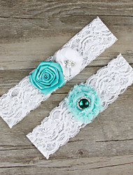 2pcs/set Mint Blue And White Satin Lace Chiffon Beading Wedding Garter