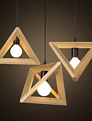 E27  Line 1M 30*30CM European-Style Creative Country Restoring Ancient Ways Triangular Wood Box Droplight  LED