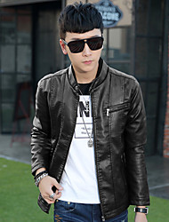 2015 new male young men's jacket coat collar Korean slim men's leather coat leisure tide