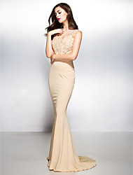 Mermaid / Trumpet V-neck Sweep / Brush Train Lace Jersey Formal Evening Dress with Lace by TS Couture®
