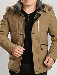 Men's Casual Length with Cap Down Coat