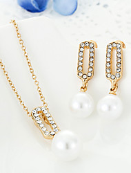 Pearl necklace and earrings set