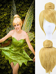 Tinker Bell Golden Yellow Synthetic Short Straight Cosplay Wig with Bun
