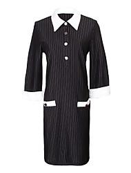 Vestidos ( Poliéster )- Casual Cuello de camisa ¾ Manga para Mujer