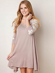 LYOU  Women's Patchwork / Lace Brown / Gray Dresses , Vintage / Sexy / Bodycon / Party / Work Round Long Sleeve