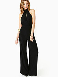 Women's Solid Black Jumpsuits , Sexy Halter Sleeveless