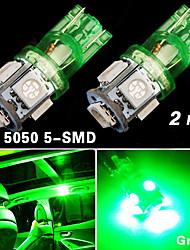 2x nos t10 verde 192 194 168 levou interior do carro&licença tag luz 5 SMD 5050 lâmpada
