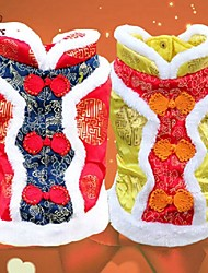 Dog / Cat Coat Red / Yellow Winter Embroidered Wedding / Cosplay