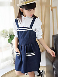 Girl's Blue Clothing Set , Stripes Cotton Spring / Fall