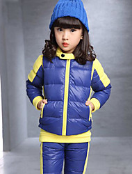 Girl's Blue / Red / Yellow Clothing Set , Stripes Cotton Blend Winter
