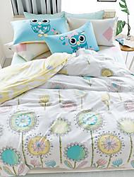 Shuian®Reactive Printing 4pcs Bedding Fresh Set Bedsheet Duvet Cover Pillowcase Home Textile Bed Clothes