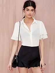 Women's Solid White Blouse , Shirt Collar Short Sleeve