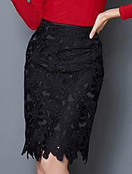 Women's Solid Red / Black Skirts , Casual / Lace Knee-length