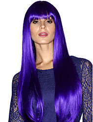 The New Animation Carved Purple Long Straight Hair Wig