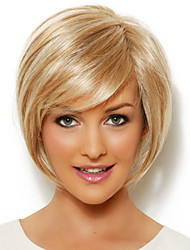 Elegant Short Straight Human Virgin Remy Hair Hand-Tied Top Female Capless Wig