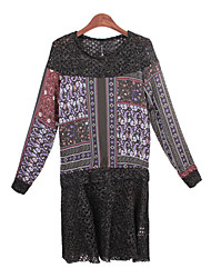 Women's Print / Patchwork Red / Purple Dresses , Casual Round Long Sleeve