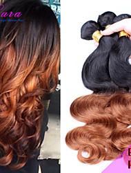 Ombre Малайзии девственной объемная волна волос, человеческие волосы Ombre расширения 3 пучки волос цвет Ombre два тона 1b / 30 акций