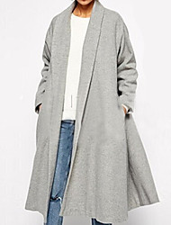 Women's Plus Size Coat,Solid Shirt Collar Long Sleeve Winter Gray Wool Opaque