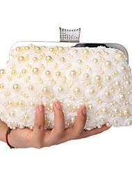 L.west Women Pearl Lace Flowers Diamonds Evening Bag