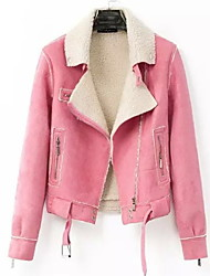 Women's Solid Pink / Red Jackets , Casual Shirt Collar Long Sleeve