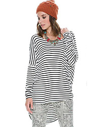 LYOU  Women's Striped Multi-color Tops & Blouses , Plus size/Vintage / Sexy / Work Round Long Sleeve