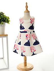 Girl's Fashion Simplicity  Cotton Blend   Fall/Spring  Cute Girl Printing Jumper Skirt Princess Dress