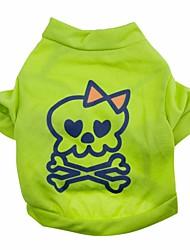 Gatos / Perros Camiseta Verde Verano / Primavera/Otoño Cráneos Moda, Dog Clothes / Dog Clothing-Other