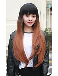 Cabelos longos kanekalon 1pc perucas livre dom cap u peruca parte calor natural resistentes 2 tons peruca sintética ombre