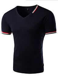 Informell V-Ausschnitt - Kurzarm - MEN - T-Shirts ( Baumwoll Mischung )