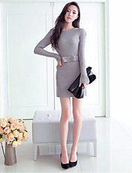 Women's Party Sexy Bodycon Dress,Solid Round Neck Above Knee Long Sleeve Red / Black / Gray Fall