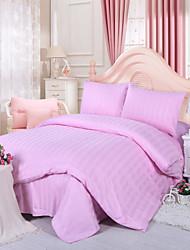 la raya del color de 4 piezas juego de cama de algodón sólido