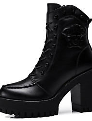 Women's Shoes Synthetic Chunky Heel Snow Boots / Motorcycle Boots Boots Party & Evening / Dress / Casual Black / Gray