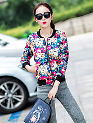 Women's Print Blue / Red / White / Black / Multi-color Jackets , Casual Round Neck Long Sleeve