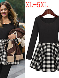 VIVI Women's Plaid Multi-color plus size  Dresses , Sexy / Casual / Work Round Long Sleeve