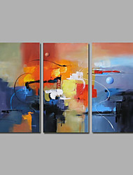 Ready to Hang Stretched Hand-Painted Oil Painting on Canvas Wall Art Contempory Abstract Blue Color Three Panel