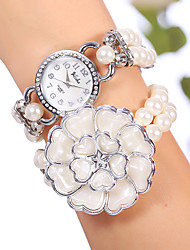 YiLiSha® Women's White Silver Rhinestone Round Dial Big Flower Bead Double Wrap Bracelet Watches