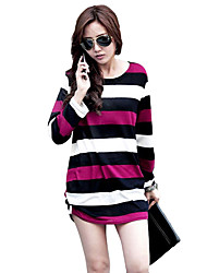 Women Long T-Shirt Stripe Round Neck Long Sleeve Ruched Hem Casual Top Blouse