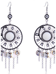 European Style Retro Hollow Out Wafer Shell  Tassels Alloy Drop Earrings