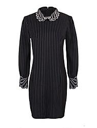 Women's Striped Black Dresses , Casual Shirt Collar Long Sleeve