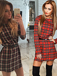 Perfect Women's Plaid Multi-color Dresses , Sexy / Casual / Work Round Long Sleeve