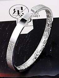 moda minimalista en el alivio de la apertura mil pulsera de plata fina