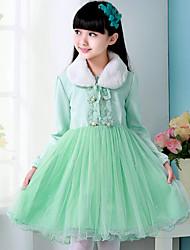 Girl's Green Dress , Dresswear Polyester Winter